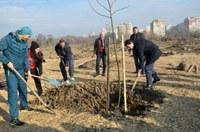 """Изявени спортисти,  кметове и граждани засадиха 100 дръвчета за разширяването на парк """"Лаута"""""""