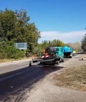 Кметът Иван Тотев инспектира ремонта на Брезовско шосе